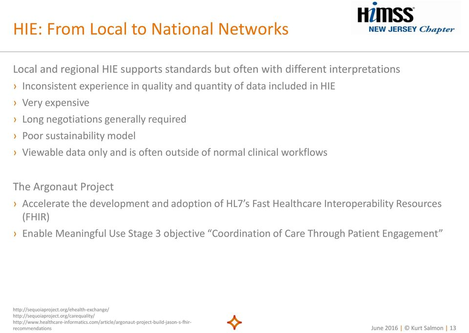 development and adoption of HL7 s Fast Healthcare Interoperability Resources (FHIR) Enable Meaningful Use Stage 3 objective Coordination of Care Through Patient Engagement