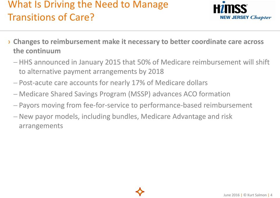 Medicare reimbursement will shift to alternative payment arrangements by 2018 Post-acute care accounts for nearly 17% of Medicare dollars