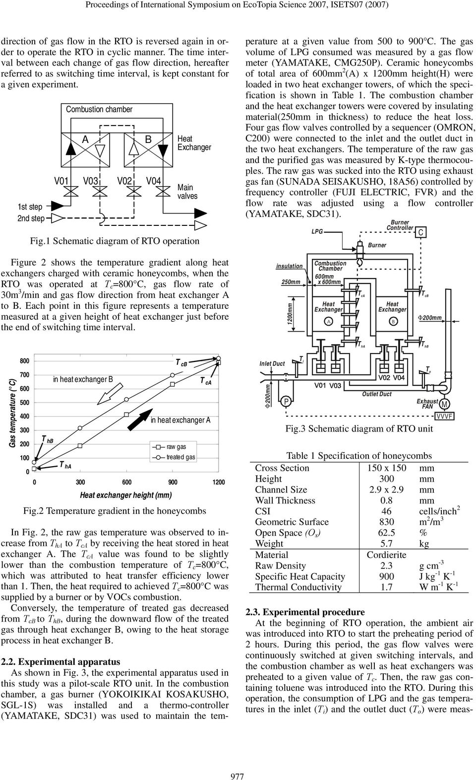 1st step 2nd step V01 Combustion chamber A B V03 V02 V04 Main valves Fig.1 Schematic diagram of RTO operation 2.2. Experimental apparatus As shown in Fig.