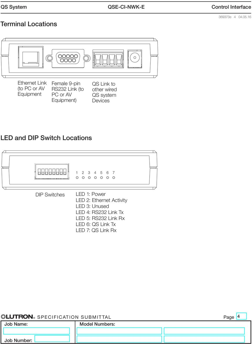 QS Link to other wired QS system Devices LED and DIP Switch Locations 1 2 3 4 5 6 7 DIP