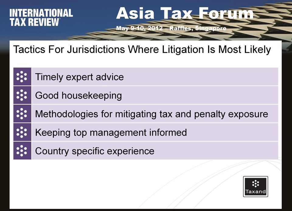 Methodologies for mitigating tax and penalty