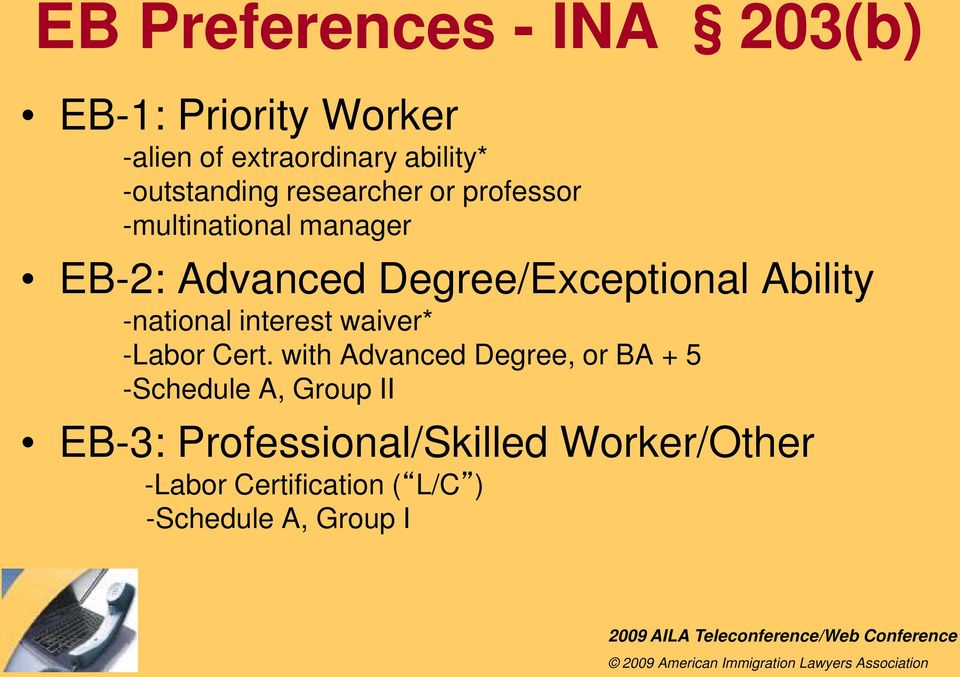 Degree/Exceptional Ability -national interest waiver* -Labor Cert.