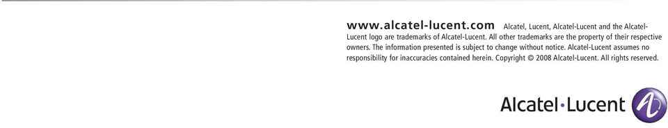 Alcatel-Lucent. All other trademarks are the property of their respective owners.