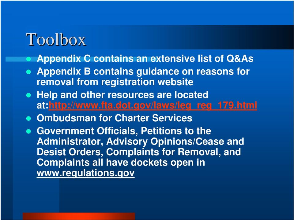 html Ombudsman for Charter Services Government Officials, Petitions to the Administrator, Advisory