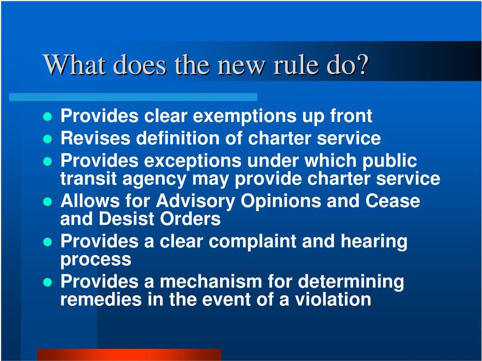 exceptions under which public transit agency may provide charter service Allows for