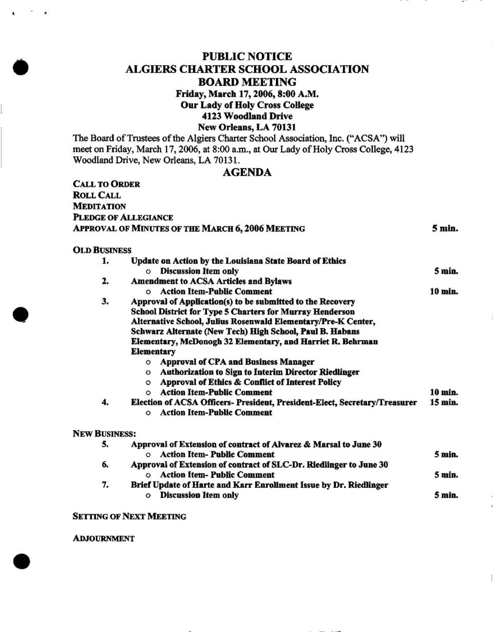 AGENDA CALL TO ORDER ROLLCALL MEDITATION PLEDGEOFALLEGLANCE APPROVAL OF MINUTES OF THE MARCH 6, 2006 MEETING OLD BUSINESS 1.