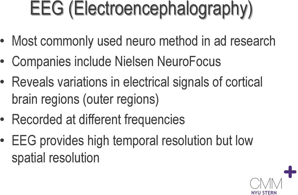 electrical signals of cortical brain regions (outer regions) Recorded at