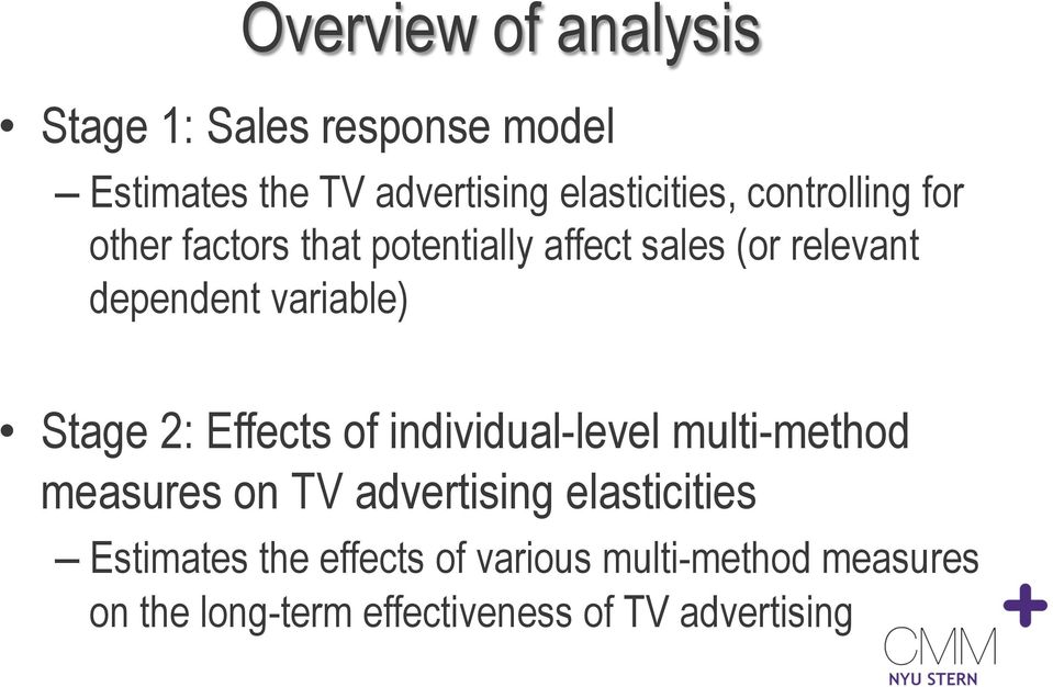 Stage 2: Effects of individual-level multi-method measures on TV advertising elasticities