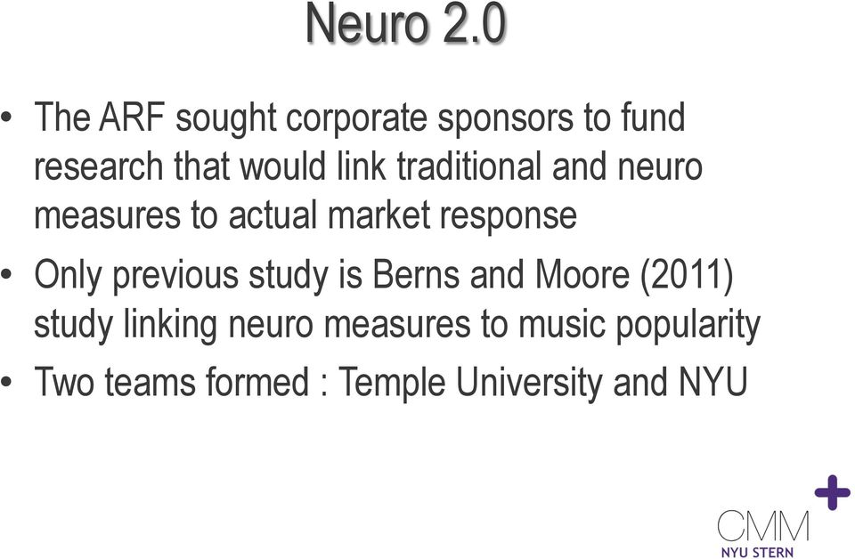 traditional and neuro measures to actual market response Only