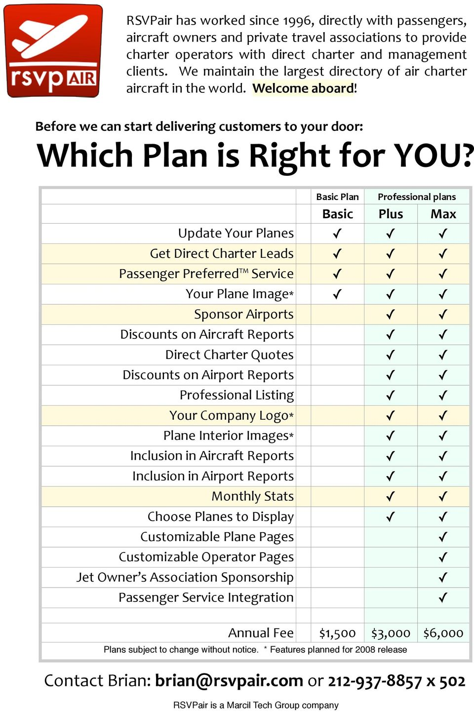 Basic Plan Professional plans Basic Plus Max Update Your Planes Get Direct Charter Leads Passenger Preferred Service Your Plane Image* Sponsor Airports Discounts on Aircraft Reports Direct Charter