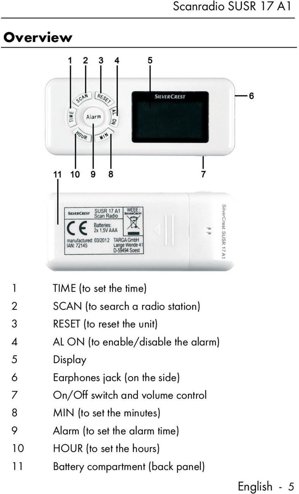 (on the side) 7 On/Off switch and volume control 8 MIN (to set the minutes) 9 Alarm (to set