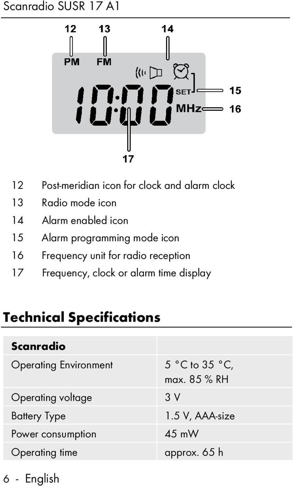 time display Technical Specifications Scanradio Operating Environment Operating voltage Battery Type