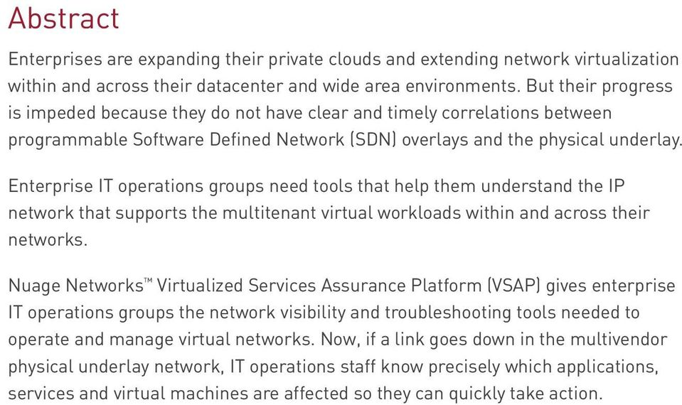 Enterprise IT operations groups need tools that help them understand the IP network that supports the multitenant virtual workloads within and across their networks.