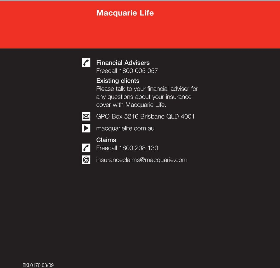 insurance cover with Macquarie Life.