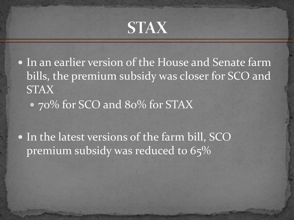 STAX 70% for SCO and 80% for STAX In the latest