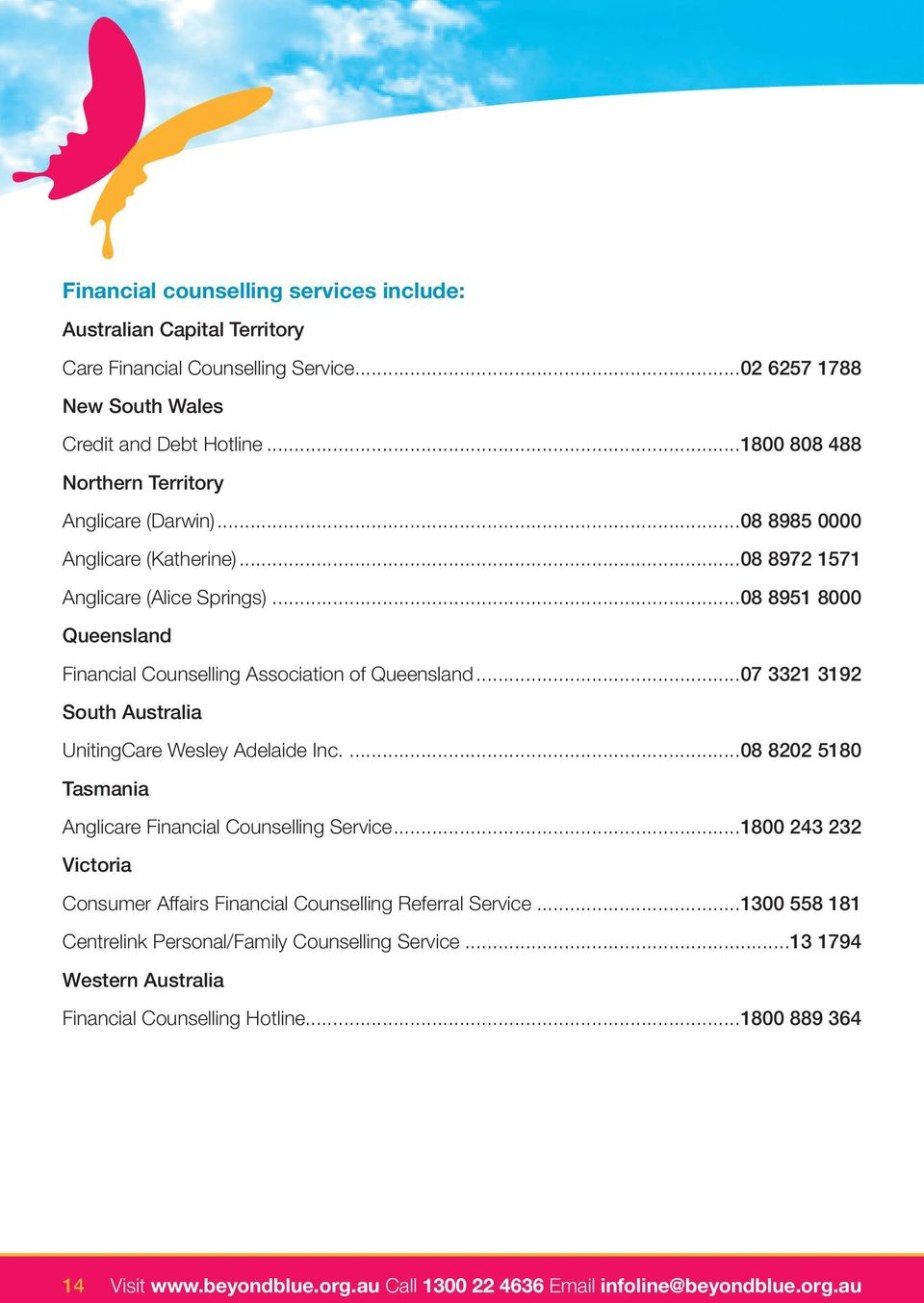 ..08 8951 8000 Queensland Financial Counselling Association of Queensland...07 3321 3192 South Australia UnitingCare Wesley Adelaide Inc.