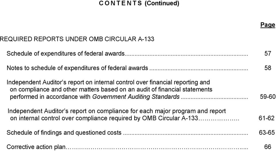 .. 58 Independent Auditor s report on internal control over financial reporting and on compliance and other matters based on an audit of financial
