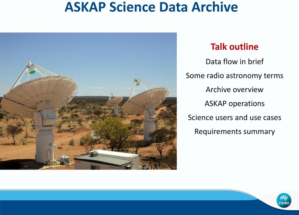 terms Archive overview ASKAP operations