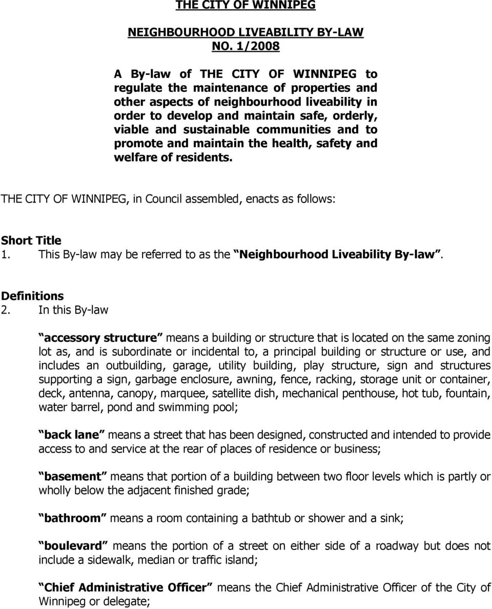 NEIGHBOURHOOD LIVEABILITY BY-LAW TABLE OF CONTENTS  Division