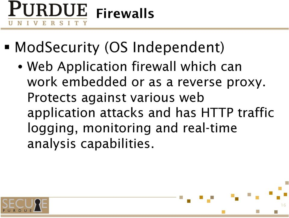 Protects against various web application attacks and has