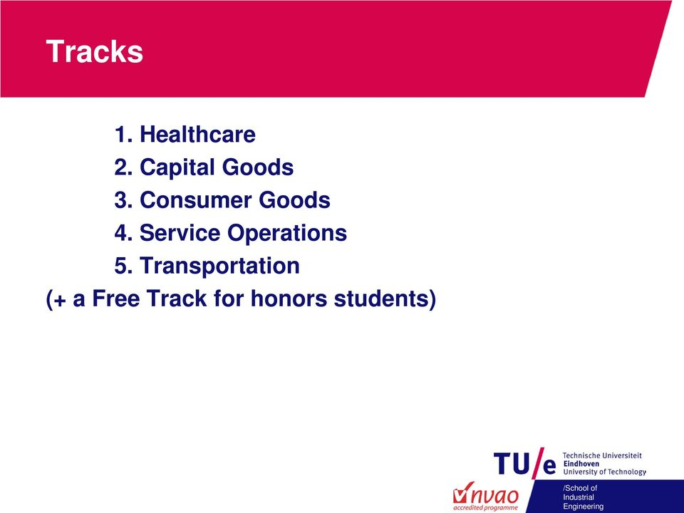 Transportation (+ a Free Track for honors