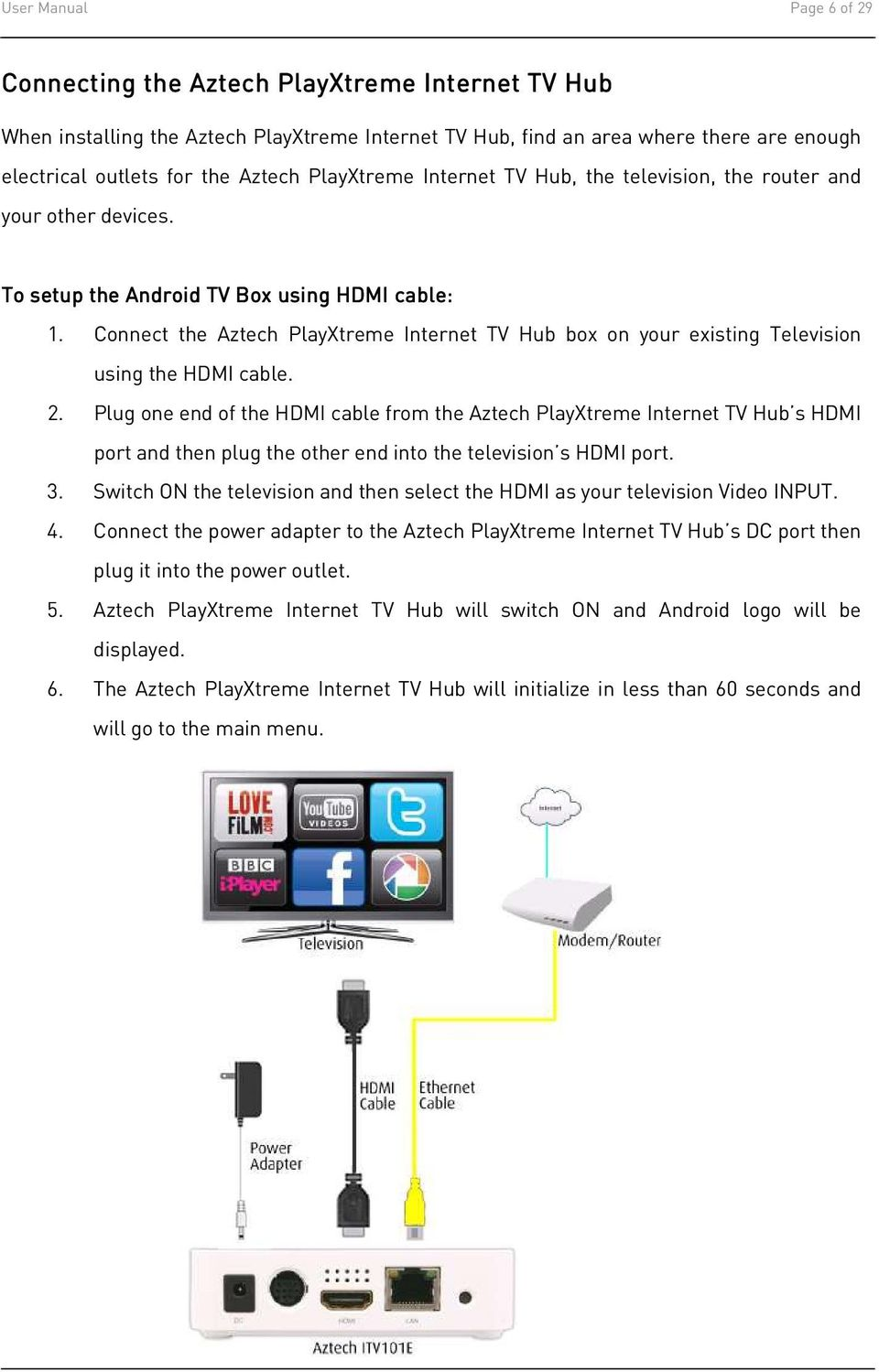 Connect the Aztech PlayXtreme Internet TV Hub box on your existing Television using the HDMI cable. 2.