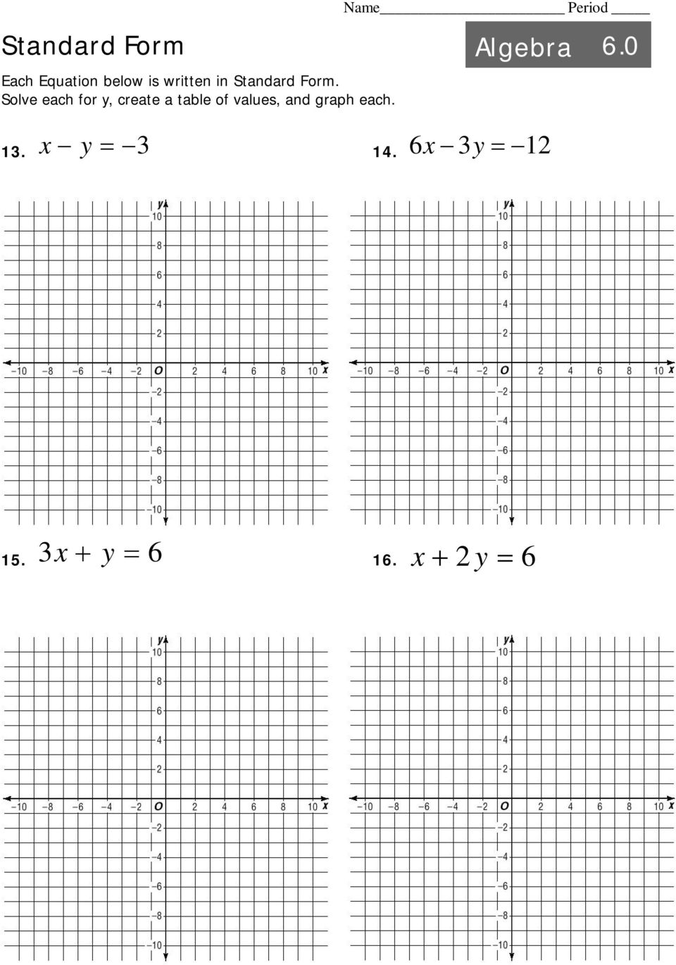 Intro to linear equations algebra pdf for X and y table of values