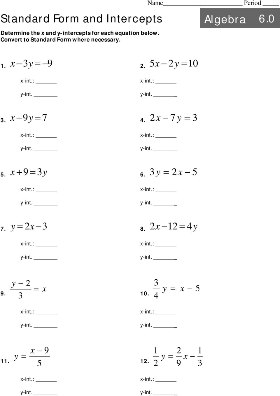 Intro to linear equations algebra pdf convert to standard form where necessary name period y 9 x 5x y falaconquin