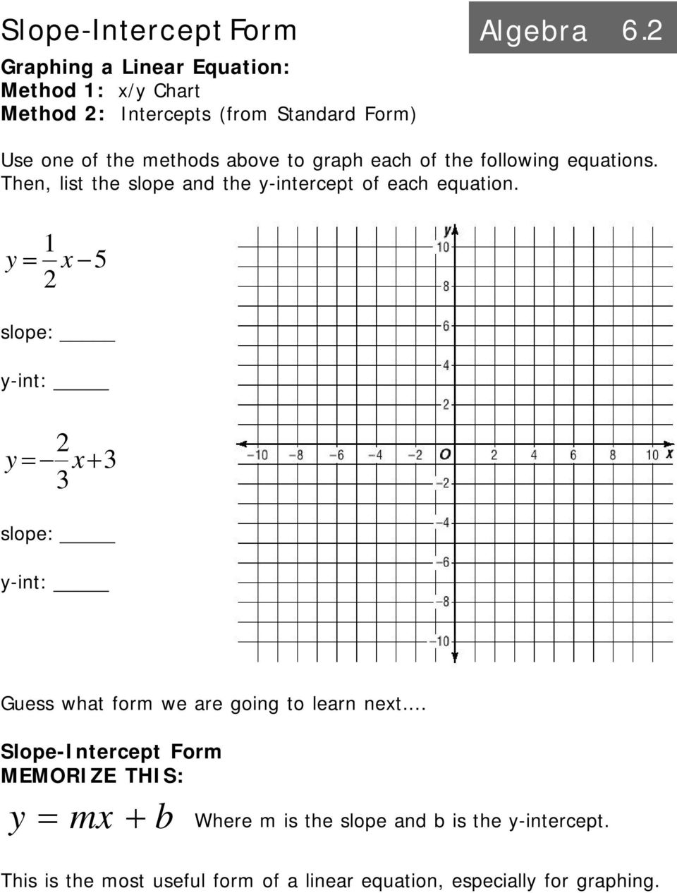 Intro to linear equations algebra pdf graph each of the following equations then list the slope and the y 20 slope intercept form algebra falaconquin