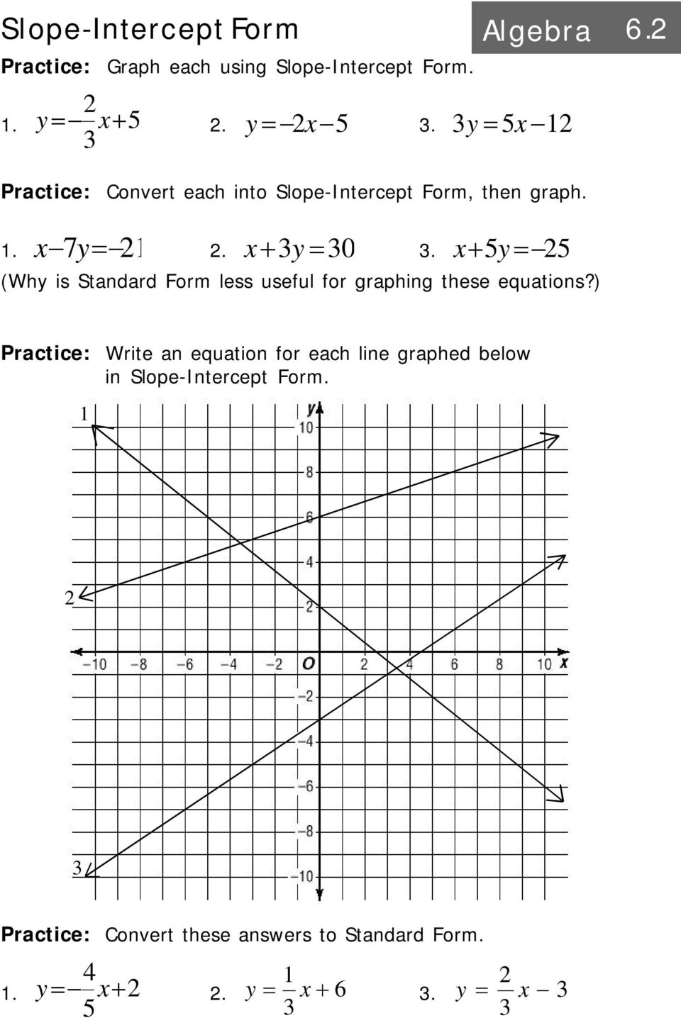 Intro to linear equations algebra pdf x5y 5 why is standard form less useful for graphing these equations 21 slope intercept form algebra falaconquin