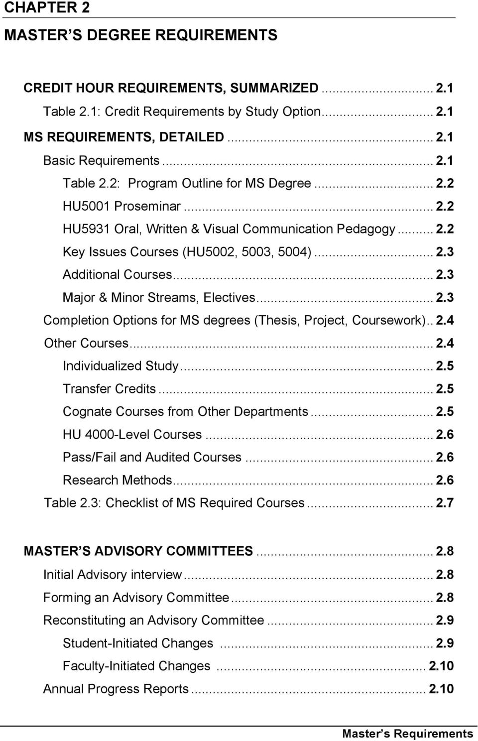 .. 2.3 Completion Options for MS degrees (Thesis, Project, Coursework).. 2.4 Other Courses... 2.4 Individualized Study... 2.5 Transfer Credits... 2.5 Cognate Courses from Other Departments... 2.5 HU 4000-Level Courses.