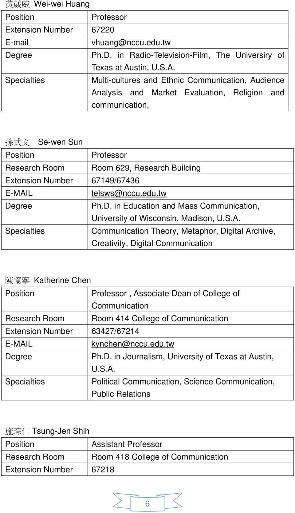 Specialties Multi-cultures and Ethnic Communication, Audience Analysis and Market Evaluation, Religion and communication, 孫 式 文 Se-wen Sun Position Professor Research Room Room 629, Research Building