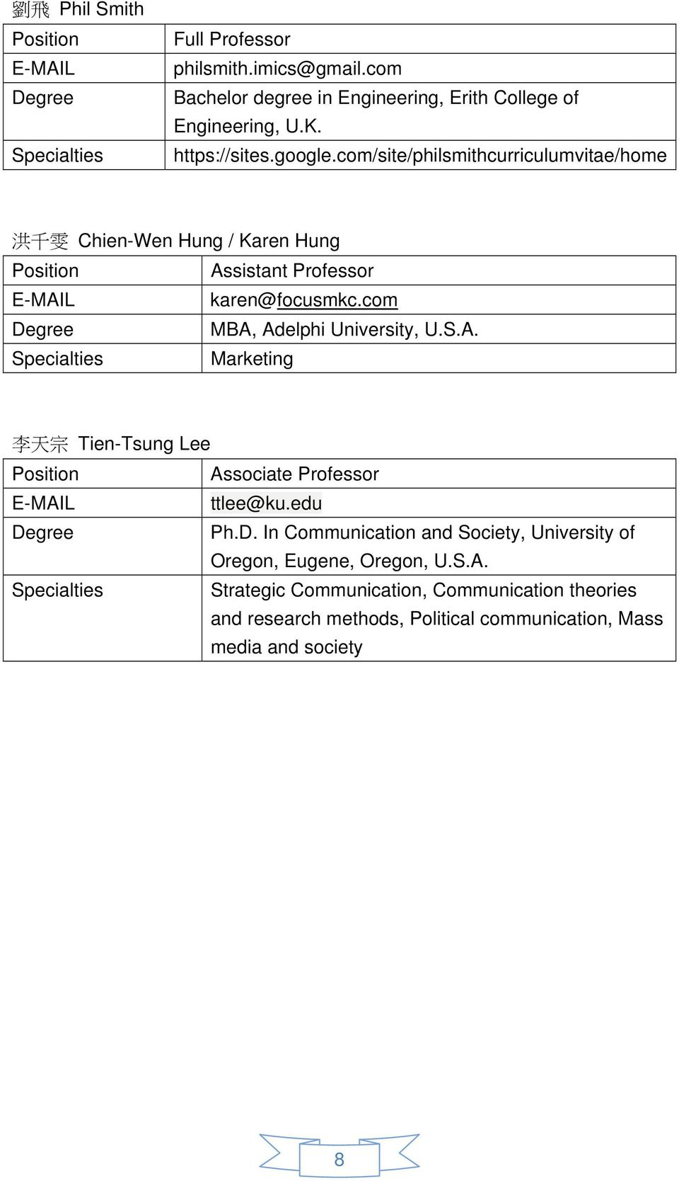 com Degree MBA, Adelphi University, U.S.A. Specialties Marketing 李 天 宗 Tien-Tsung Lee Position Associate Professor E-MAIL ttlee@ku.edu Degree Ph.D. In Communication and Society, University of Oregon, Eugene, Oregon, U.