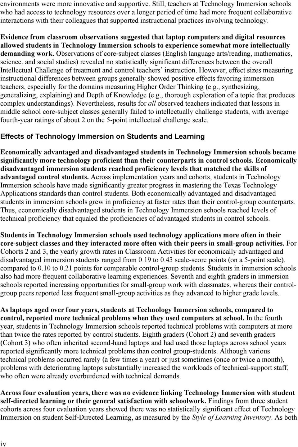 instructional practices involving technology.