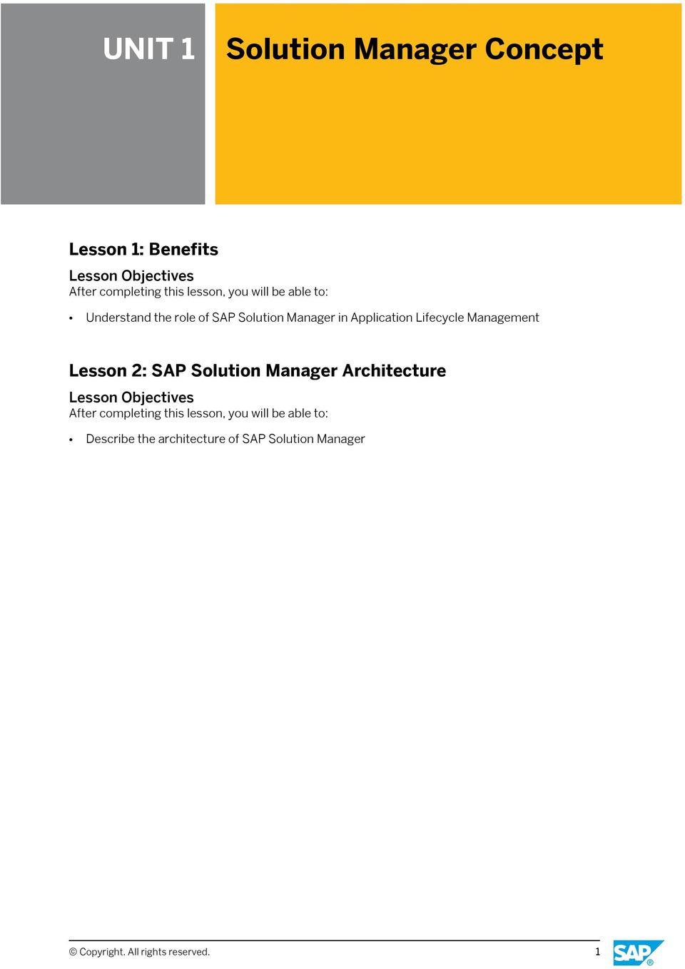 Management Lesson 2: SAP Solution Manager Architecture Describe