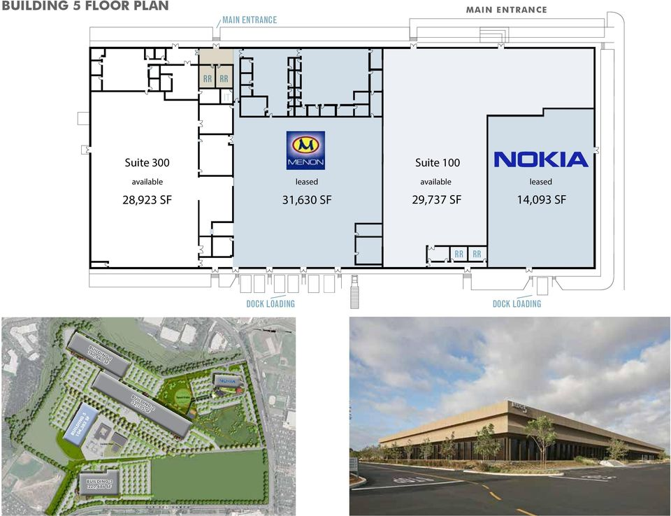 available leased available 28,923 SF 31,630 SF 29,737 SF leased 14,093 SF RR RR