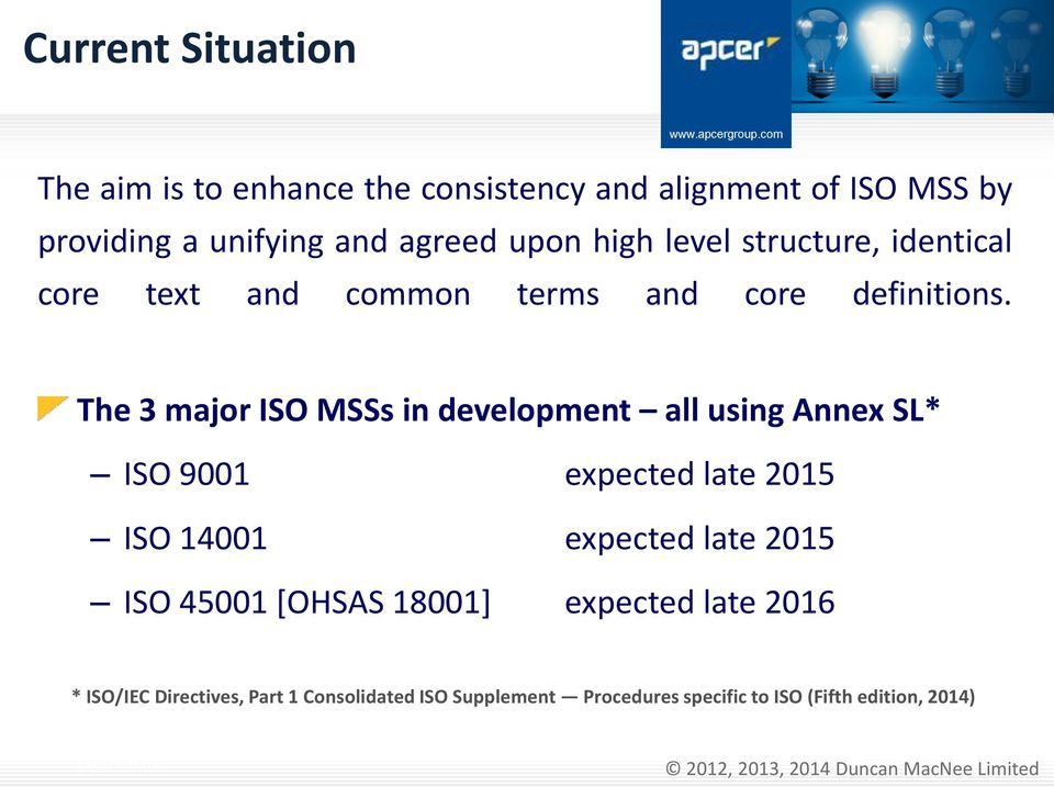The 3 major ISO MSSs in development all using Annex SL* ISO 9001 expected late 2015 ISO 14001 expected late 2015