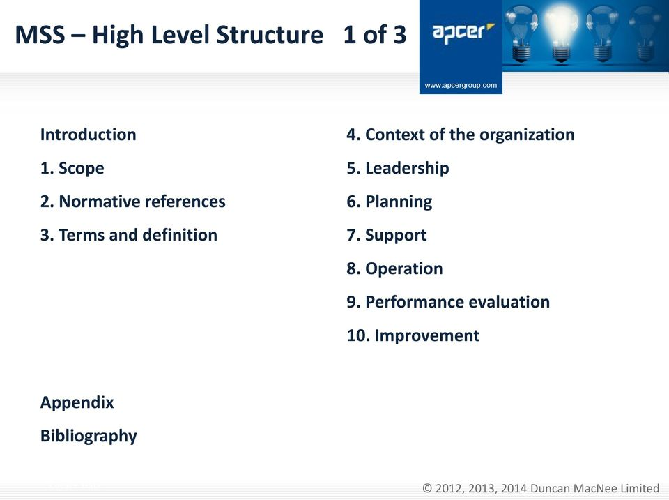 Context of the organization 5. Leadership 6. Planning 7.