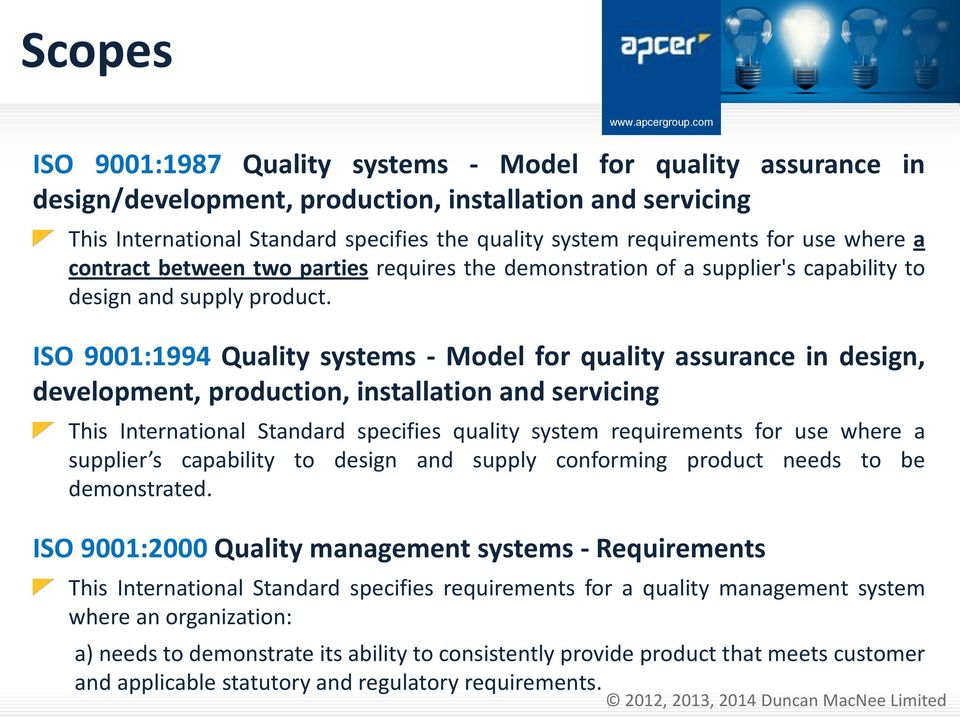 ISO 9001:1994 Quality systems - Model for quality assurance in design, development, production, installation and servicing This International Standard specifies quality system requirements for use