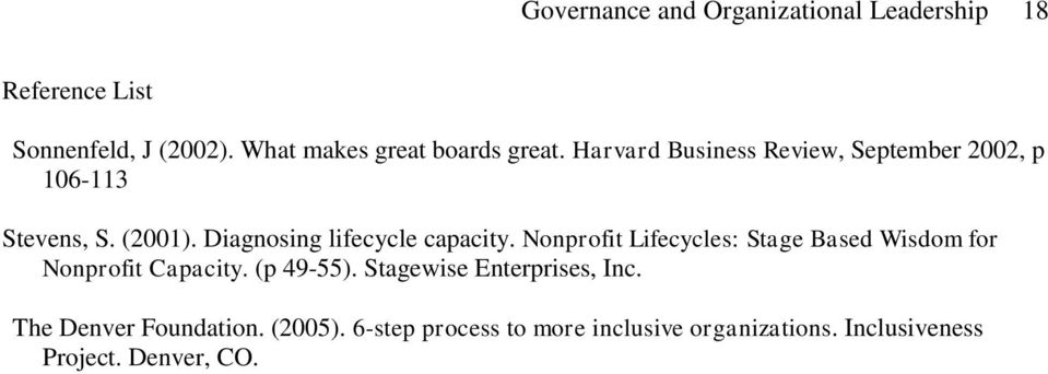 Diagnosing lifecycle capacity. Nonprofit Lifecycles: Stage Based Wisdom for Nonprofit Capacity. (p 49-55).
