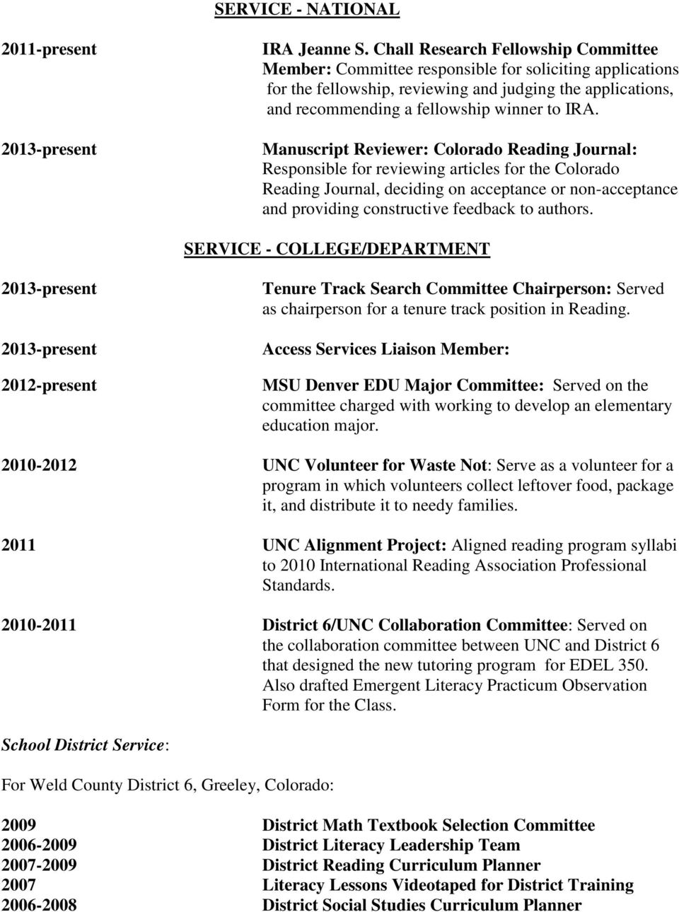 Manuscript Reviewer: Colorado Reading Journal: Responsible for reviewing articles for the Colorado Reading Journal, deciding on acceptance or non-acceptance and providing constructive feedback to