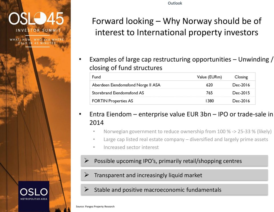or trade-sale in 2014 Norwegian government to reduce ownership from 100 % -> 25-33 % (likely) Large cap listed real estate company diversified and largely prime assets Increased sector