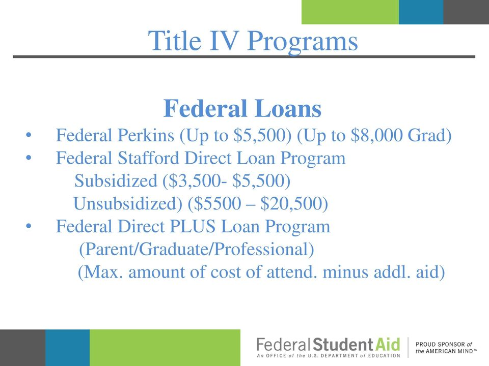 $5,500) Unsubsidized) ($5500 $20,500) Federal Direct PLUS Loan Program