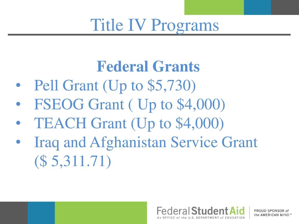 $4,000) TEACH Grant (Up to $4,000) Iraq