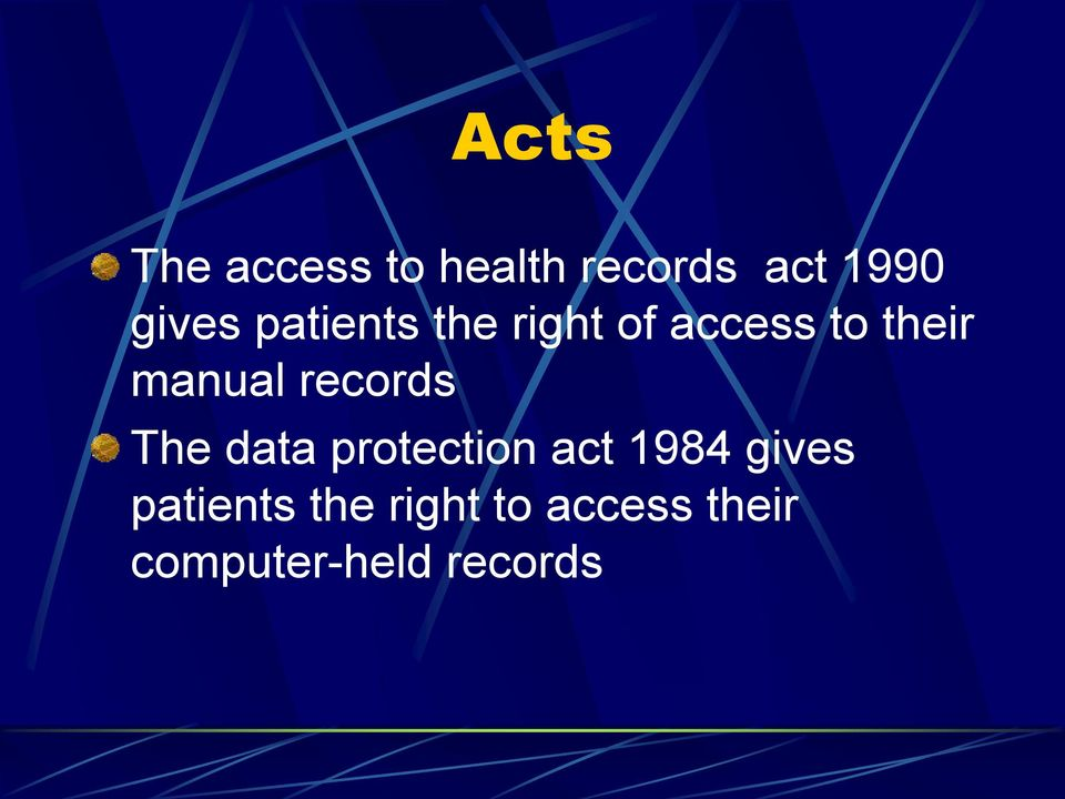 records The data protection act 1984 gives