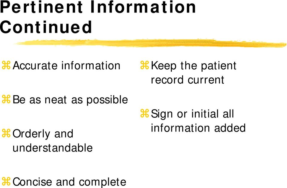 understandable Keep the patient record current