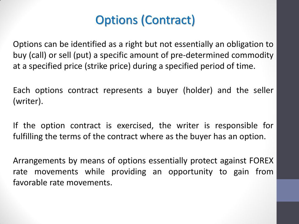 Each options contract represents a buyer (holder) and the seller (writer).