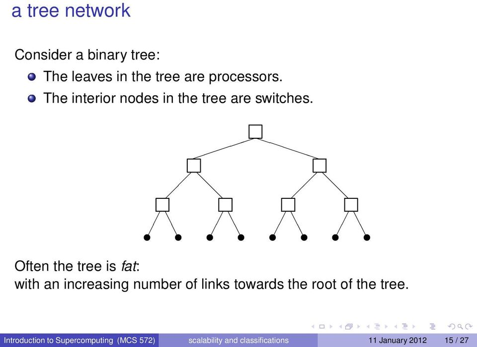 Often the tree is fat: with an increasing number of links towards the root