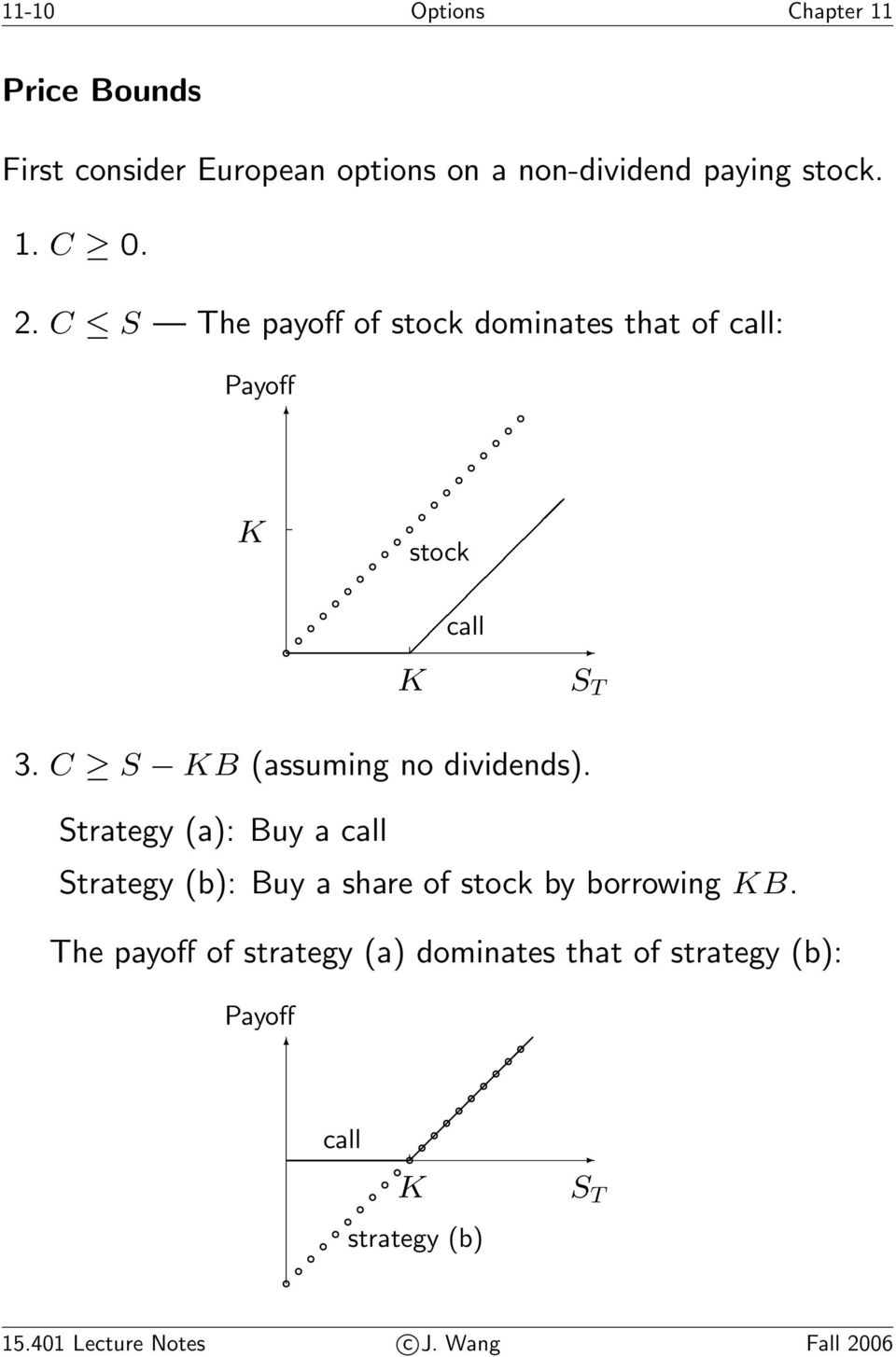 C S KB (assuming no dividends). Strategy (a): Buy a call Strategy (b): Buy a share of stock by borrowing KB.
