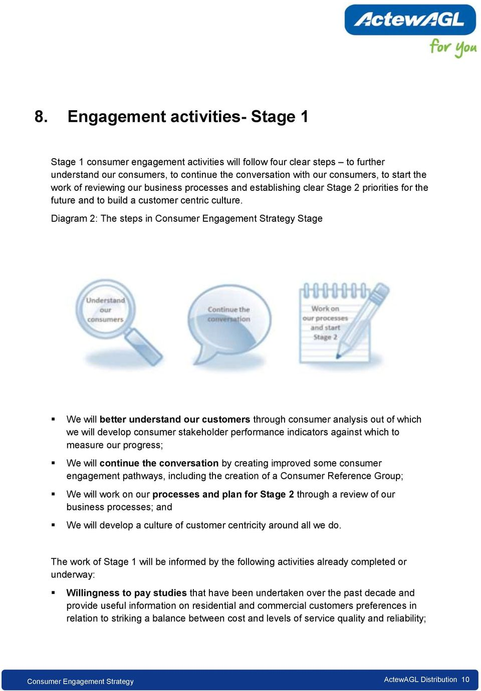 Diagram 2: The steps in Stage We will better understand our customers through consumer analysis out of which we will develop consumer stakeholder performance indicators against which to measure our